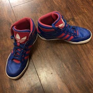 Blue and Pink Adidas Hightop Sneakers